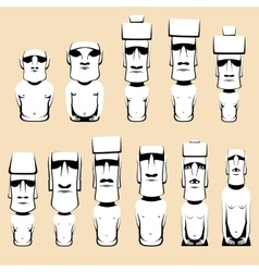 Set of moai monolithic human figures carved by the vector