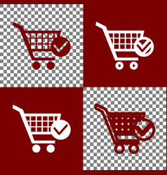 Shopping cart with check mark sign bordo vector