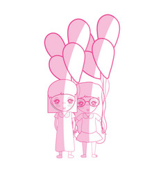 Silhouette cute girls with balloons in the hand vector