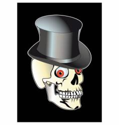 skull with top hat vector image vector image