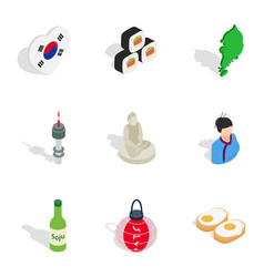South korea cultural elements icons vector