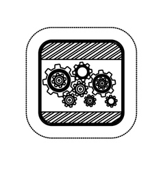 sticker monochrome square with gear wheel vector image vector image
