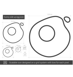 sunny side up eggs line icon vector image vector image