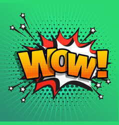 Wow comic text sound effect speech bubble in vector