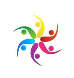 Team 6 swooshes logo vector image