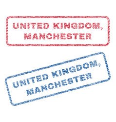 united kingdom manchester textile stamps vector image