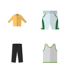 flat clothes set of banyan singlet pants and vector image
