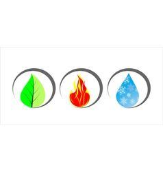 Icons of leaf fire and drop with snowflakes vector