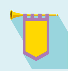 Trumpet with flag icon vector