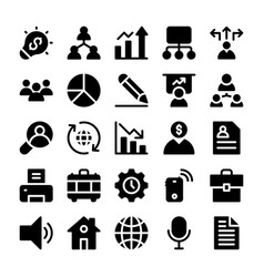 Project management solid icons vector