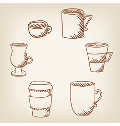 Set of hand drawncoffee mugs and cups vector