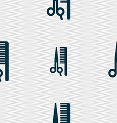 Hair icon sign seamless pattern with geometric vector