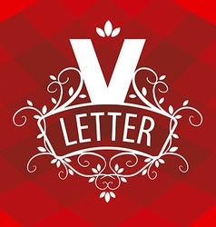Ornate letter v logo on a red background vector