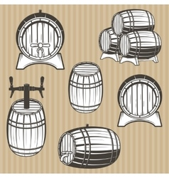 Set of barrels in vintage style vector