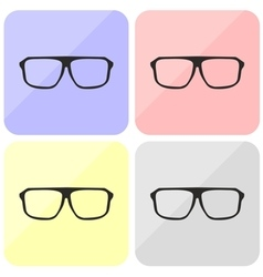 Glasses hipster set with black thick holder vector