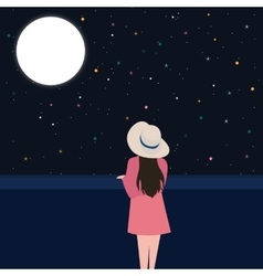 Girls looking starring at the night sky alone vector