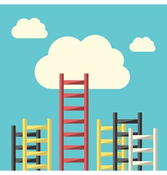 Success ladder to cloud vector