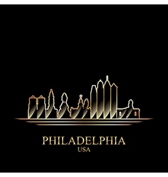 Gold silhouette of philadelphia on black vector