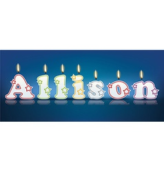 Allison written with burning candles vector