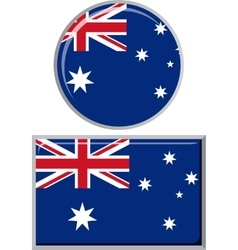 Australian round and square icon flag vector