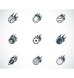 black fire sport balls icons set vector image vector image