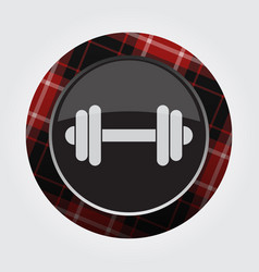 Button with red black tartan - dumbbell icon vector