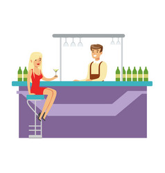 cute girl in red dress drinking alone at the bar vector image