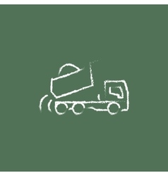 Dump truck icon drawn in chalk vector