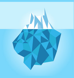 low poly iceberg isolated on white background vector image vector image
