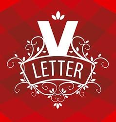 ornate letter V logo on a red background vector image vector image