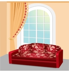 Red sofa near the window with lace curtain vector