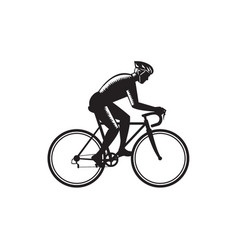 Road cyclist racing woodcut vector