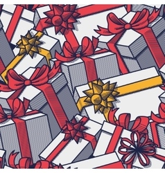 Seamless gift boxes vector image