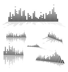 Set of equalizers on white background vector