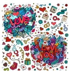 Set of Love and I Love You hand lettering and vector image vector image