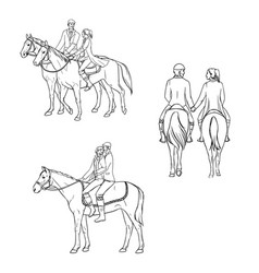 Set of loving couple riding a horse contour vector