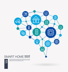 Smart home control iot automation house security vector