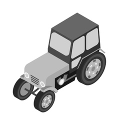 Tractor icon in monochrome style isolated on white vector