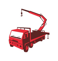 Truck mounted crane cartage hoist retro vector