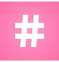 White hashtag icon isolated on pink background vector