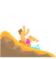 young man having fun on a water slide in a water vector image
