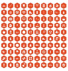 100 child health icons hexagon orange vector