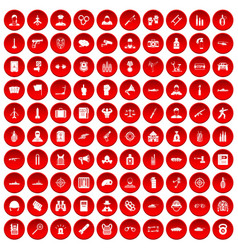 100 officer icons set red vector