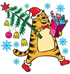 New years cat with christmas tree vector