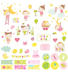 Cute baby girl scrapbook set stickers notes vector
