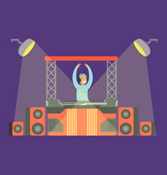Disk jockey playing his music set on stage part vector