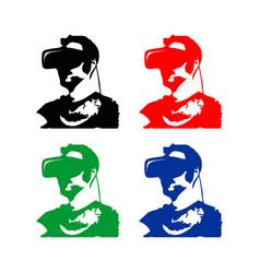 Virtual reality man silhouete vector