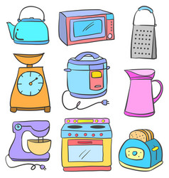 kitchen equipment colorful set doodle vector image