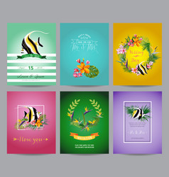 Tropical fish and exotic flowers card set vector