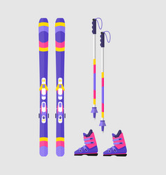 pairs of skis boots and poles flat style vector image